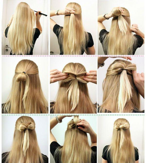 Бант на розпущеному волоссі фото