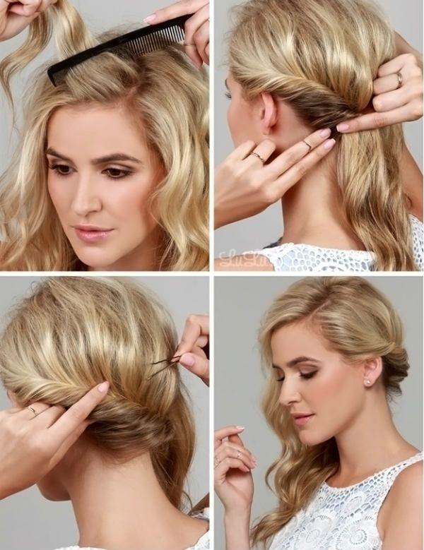 Кудрі набік на середні волосся 3 фото