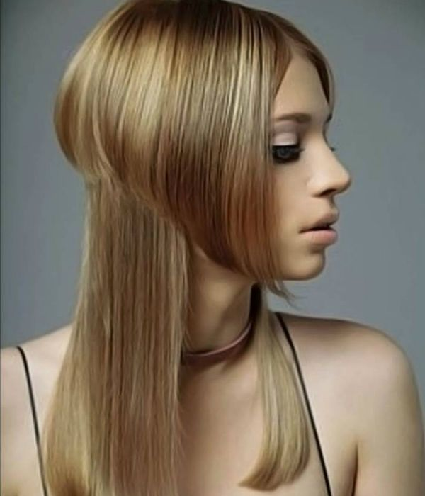 Асиметрія на довге волосся 3 фото