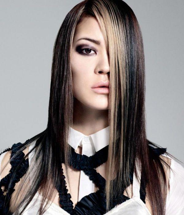 Асиметрія на довге волосся 4 фото